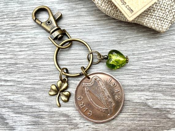 1942 Irish penny charm or keyring, a perfect keepsake gift for a 79th birthday, Ireland present woman