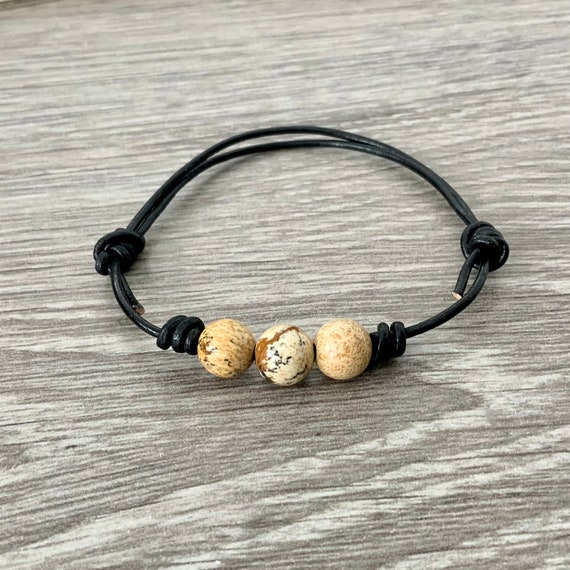Jasper bead adjustable knotted bracelet, simple leather jewellery, with a choice of black or dark brown leather