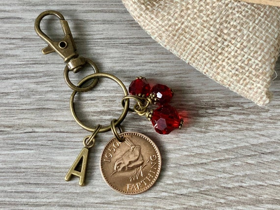 Farthing and ruby red charm bag clip, choose initial and coin year 1937 - 1952 birthday or anniversary gift, bird coin key ring
