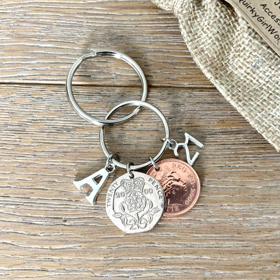 21st birthday or anniversary, a year 2000 twenty pence and 2000 penny Keyring or clip, choose initial