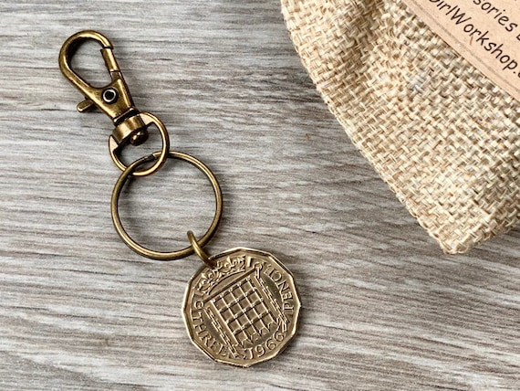 Vintage threepence Trigger clip or key ring, choose coin year for a perfect birthday or anniversary gift