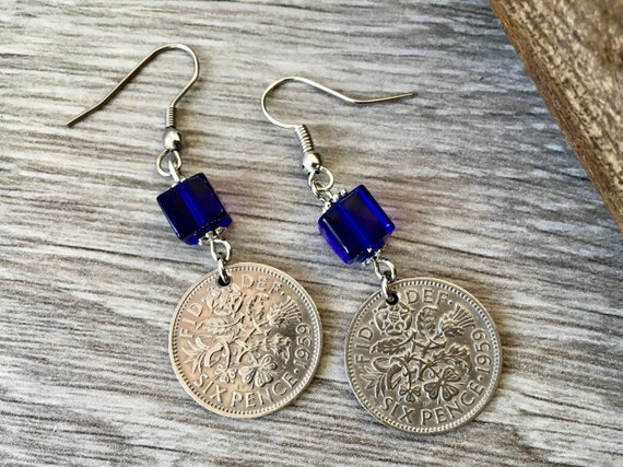 Lucky sixpence earrings, choose coin year, a perfect birthday, anniversary or good luck gift for a woman