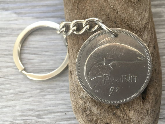 Irish 1968 coin keychain, keyring, 51st birthday gift for him, st patricks day, present for a man, retirement gift, fish, salmon, pisces