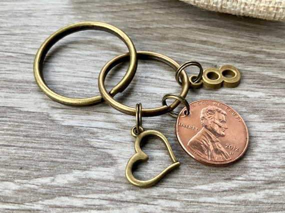8th anniversary gift 2012 USA one cent coin keyring, United States lucky penny keychain, bronze eighth wedding anniversary
