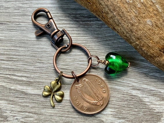 1980 Irish coin and shamrock bag charm, Celtic good luck, Ireland lucky key ring 40th birthday or anniversary present for a woman