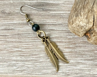Double feather and onyx earring, single earring or a pair of earrings, feather jewellery, grunge rocker style earring for me or women