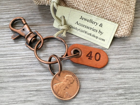 40th birthday gift, 1979 USA coin keychain, American one cent keyring, lucky penny clip, anniversary, present for him, man, woman, husband