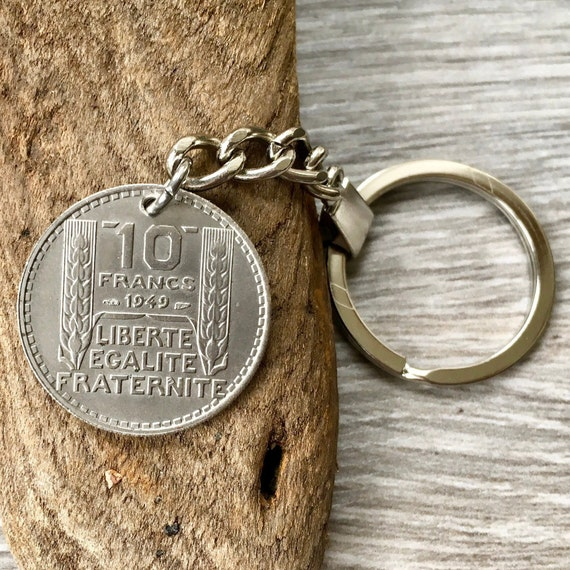 French coin key ring, key chain or clip, 1948 or 1949 10 franc from France, choose coin year for a 70th or 71st birthday gift