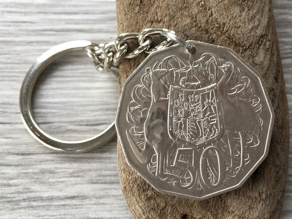 1969 Australian 50 cent coin keyring, keychain or clip, 50th birthday gift or anniversary present for a man or woman