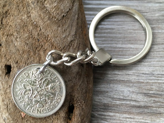 1957 British sixpence keyring, Keychain, UK good luck charm, lucky four leaf clover clip, 63rd birthday or anniversary gift
