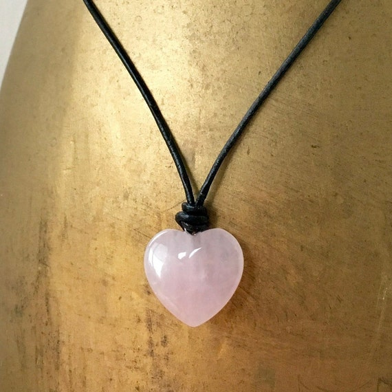 Rose quartz heart adjustable necklace on black leather or waxed cotton cord, hippie heart pendant, valentines gemstone choker