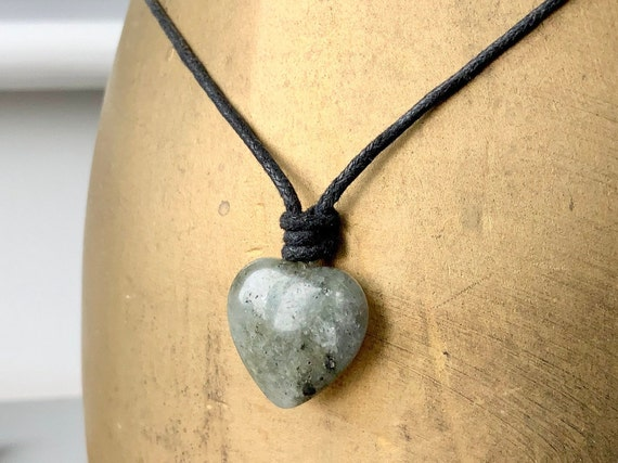 Labradorite gemstone heart adjustable necklace on black leather or waxed cotton cord
