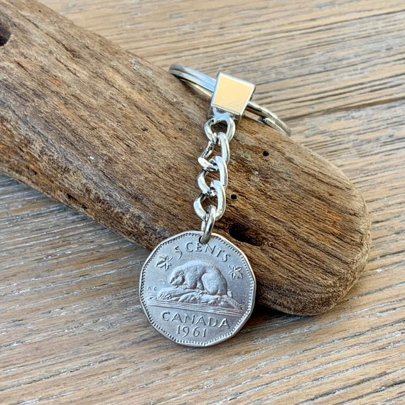 1961 Canadian coin key chain Canada 5 Cent key ring, beaver nickel, 60th birthday or anniversary gift,