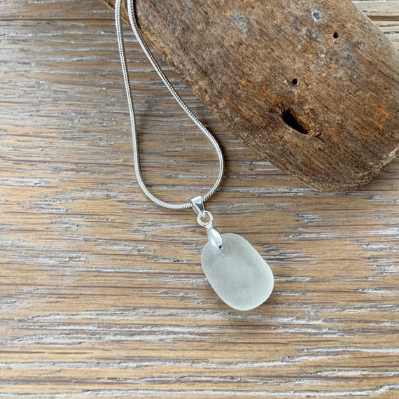 Dainty sea glass necklace, beach glass pendant, Cornish recycled glass, Cornwall mermaids tears, romantic gift for a woman