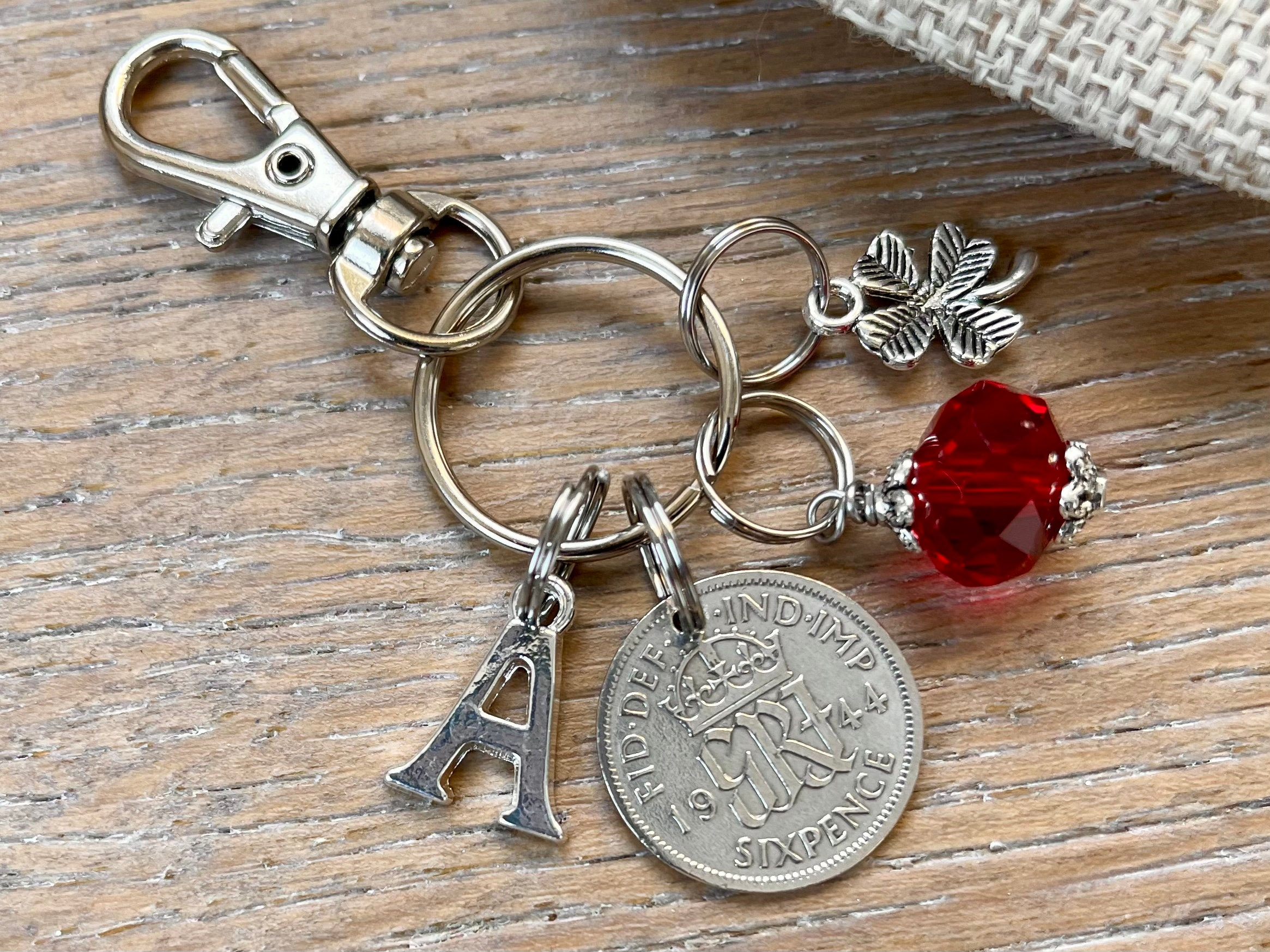 Sixpence Coin 6d 77th Anniversary Present Gift thistle 1944 77th Birthday Sixpence Birth Year Keyring-77th Birthday-Coin Keyring