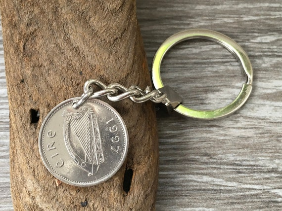 1997 irish coin keyring, Ireland keychain, Eire lucky fishing charm, salmon fish, 24th birthday or anniversary present for a man or woman