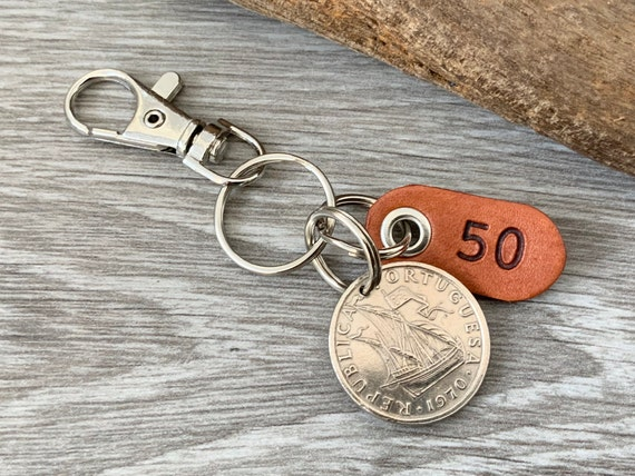 50th birthday or anniversary gift, 1970 or 1971 Portuguese coin keyring or clip Portugal keychain, 5 escudo key fob