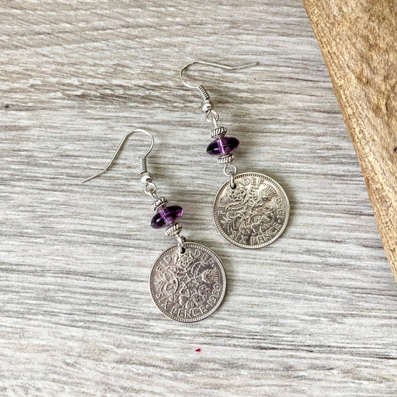 Lucky sixpence earrings, choose coin year, birthday gift for a woman, purple long dangle earrings, stainless steel jewellery, anniversary