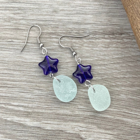 Sea glass and cobalt blue star dangle earrings, beach glass jewellery