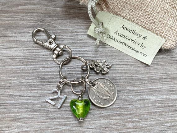 21st birthday gift, 1998 Irish coin bag charm, Ireland zipper charm, Eire Anniversary, shamrock present for a woman