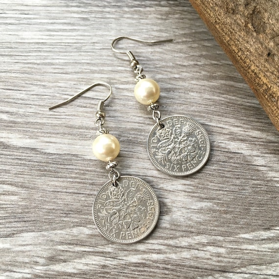 61st birthday gift for her, 1958 British sixpence earrings, pretty English coin Jewelry, retirement present woman, Boho coin earrings