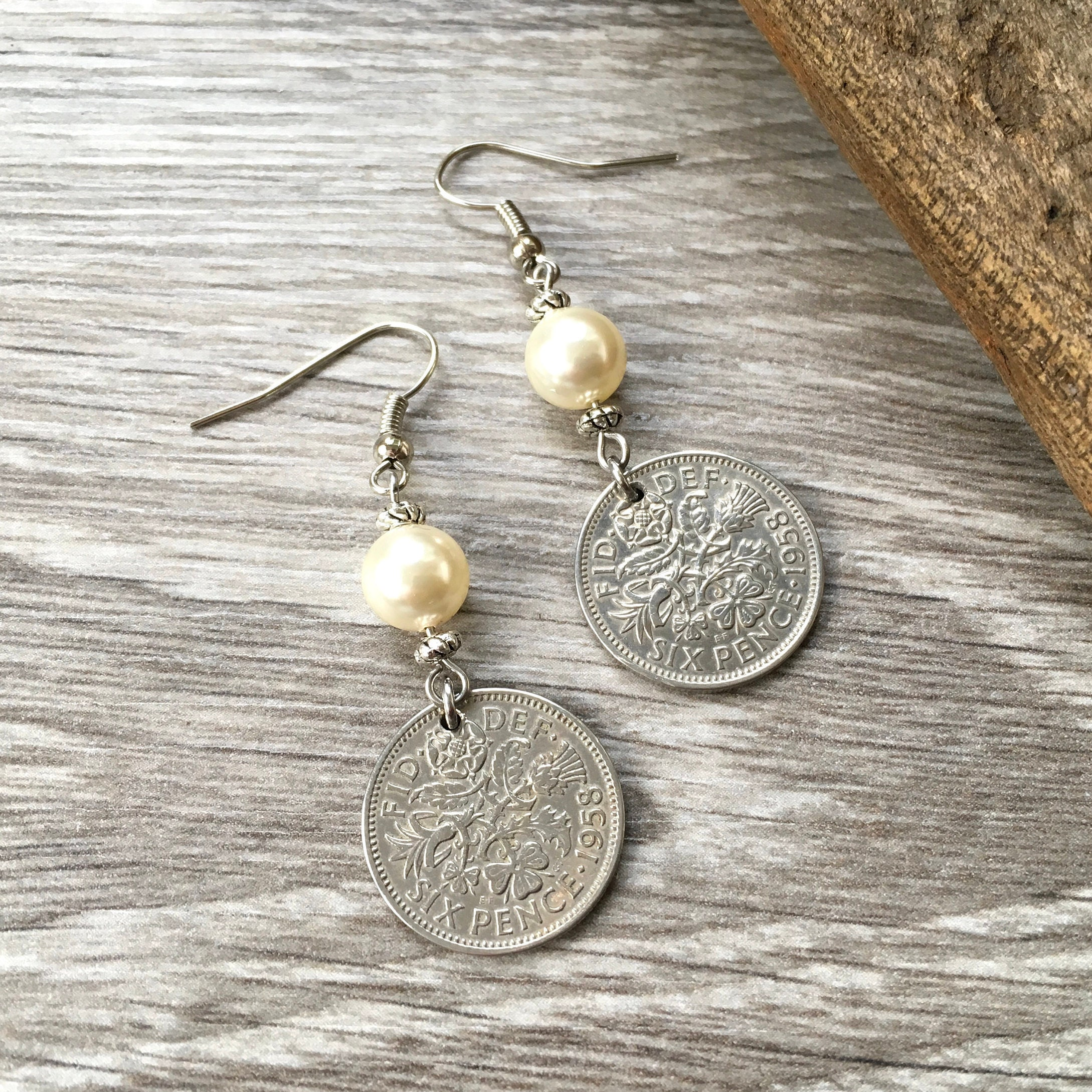 60th Birthday Gift For Her 1958 British Sixpence Earrings Pretty English Coin Jewelry Retirement Present Woman Boho