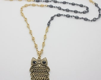 Black and Gold Owl Necklace