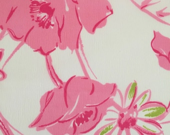 Vintage 1970s Graphic Pink Floral Fabric