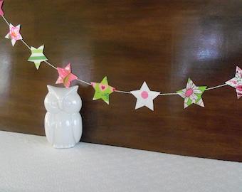 Vintage Fabric Pink & Green Star Garland