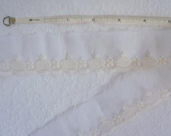 Vintage 50s White on Sheer Embroidered Nylon Flat Trim 2 1/2 Yards