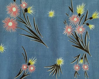 Vintage 30s-40s Starburst Pink and Green Flowers on Blue Cotton Fabric