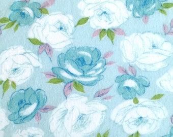 Vintage 60s Turquoise Roses Cotton Flannel Fabric