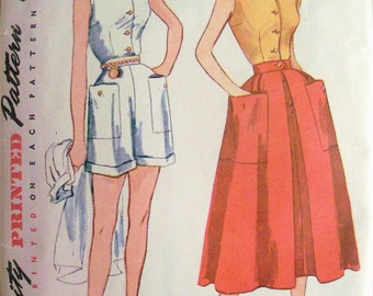 Vintage 1950 Blouse, Skirt and Shorts Pattern Simplicity 3160 Size 14 Bust 32