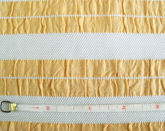 Vintage 70s Sporty Yellow and White Striped Seersucker Fabric