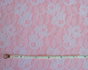 Vintage 60s Bonded White Lace on Pink Broadcloth