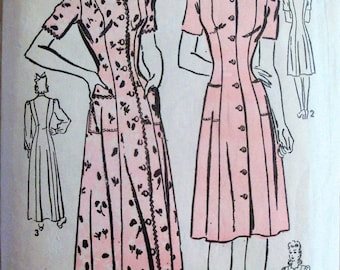 Vintage Early 1940s Advance 2873 Dress and Housecoat Pattern Bust 34