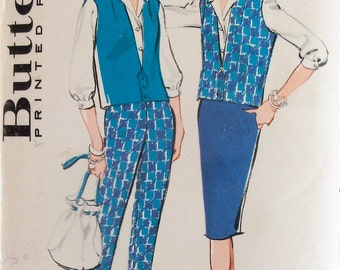 Vintage 1950s Women's Top, Pants, Skirt, Shirt Pattern Butterick 8987 Size 14