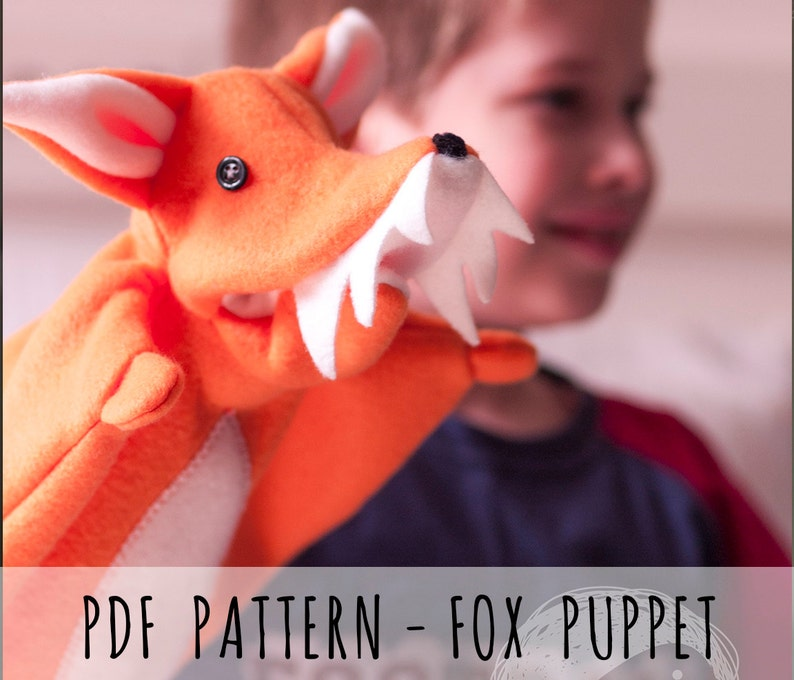 PDF PATTERN Sew your own hand animal puppet fox