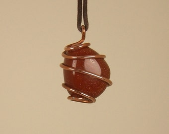 GoldStone  Wire Wrapped Pendant / Choker