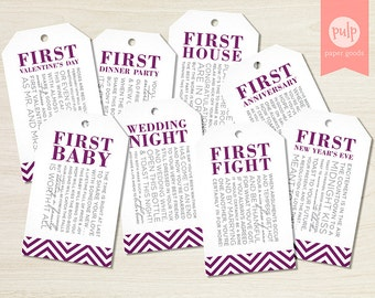instant download printable bridal shower wine tags with poems for wedding gift basket set of 8 in eggplant chevron non personalized