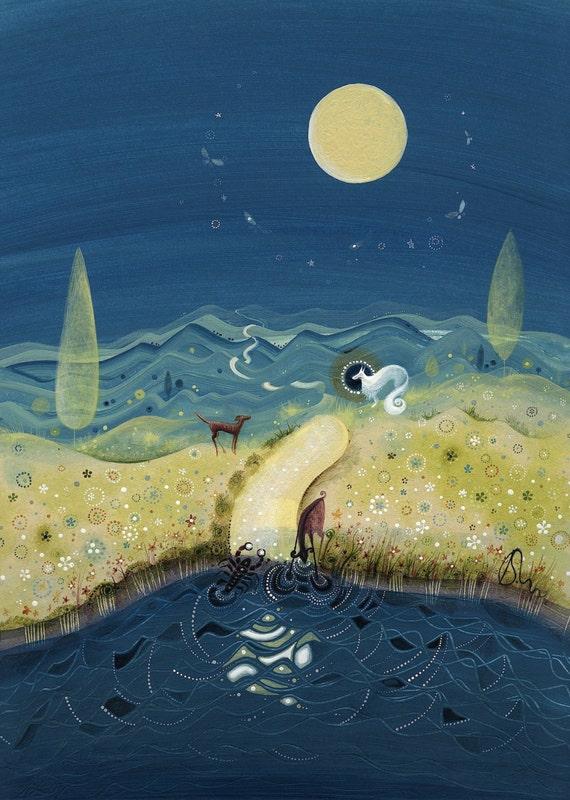Księżyca Piękny Księżyc W Pełni Wilk Pies Koza I Raki Zamieszkują To Dziwne I Starożytne Miejsce Gdzie Spotykają Się Marzenia I Prawdziwe światy