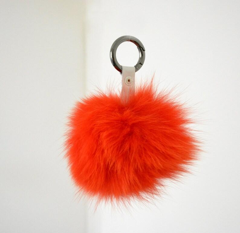 854bbdeb8350 Real Fox Fur Pom Pom Purse Charm Pom Pom Ball Red Pom Pom