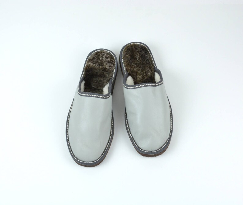 5922224e6b263 Men slippers made of sheepskin gray leather on top and white fur inside for  extra warmth, totally handmade. A great gift for him or dad