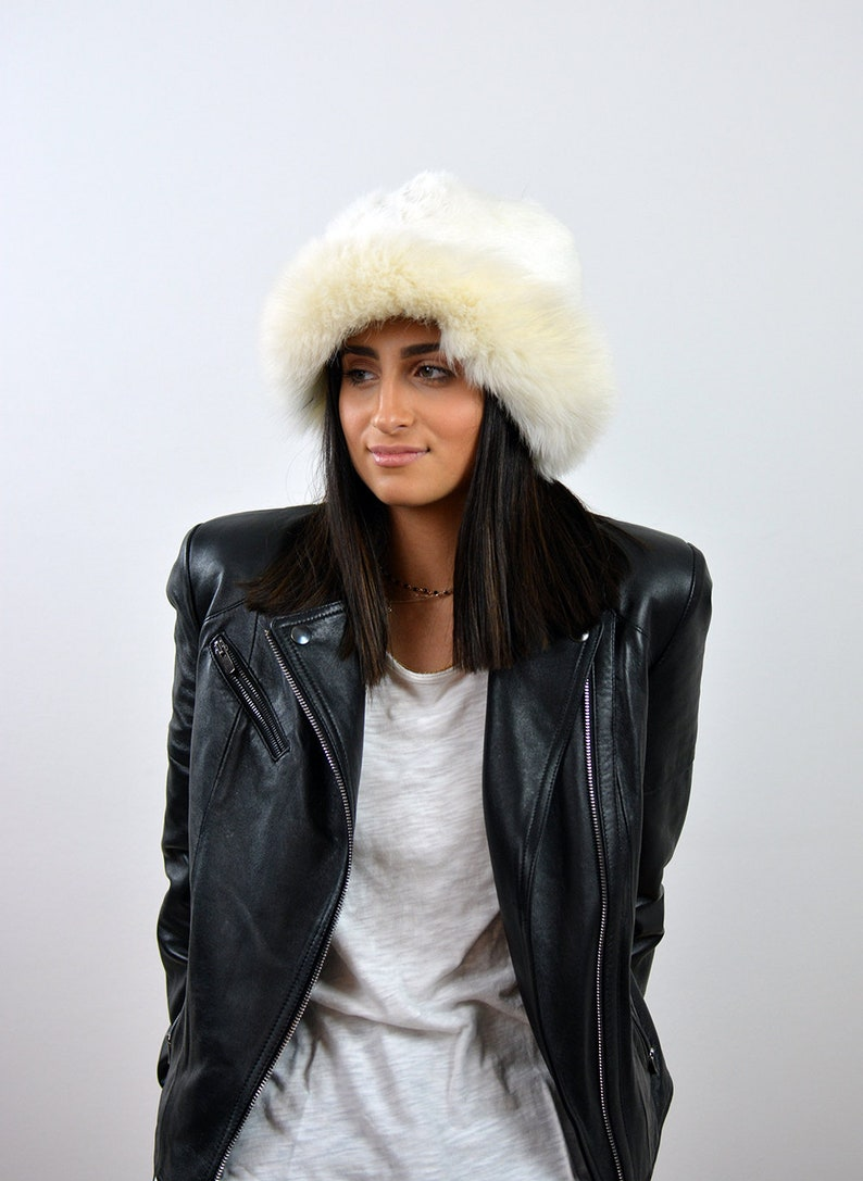 6290fef8739 White Fur Hat Real Fox Fur Hat Fur Hat Women Gift for Her