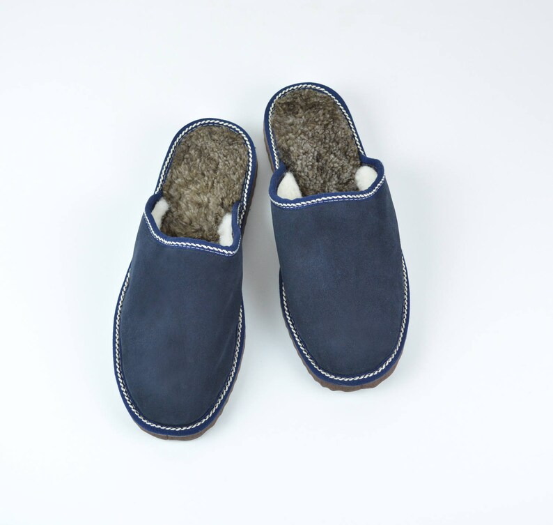 d62d23e793476 Leather slippers for men made of blue leather on top and white fur inside  for extra warmth, totally handmade. A great gift for him or dad