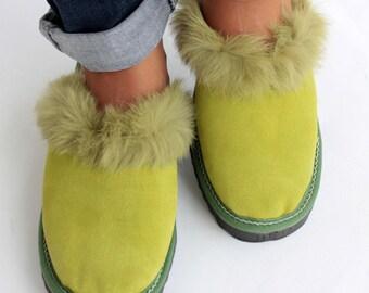 Women Slippers, Green Fur Slippers, Womens Slippers, Handmade Slippers, Leather Slippers, House Slippers, Warm Slippers