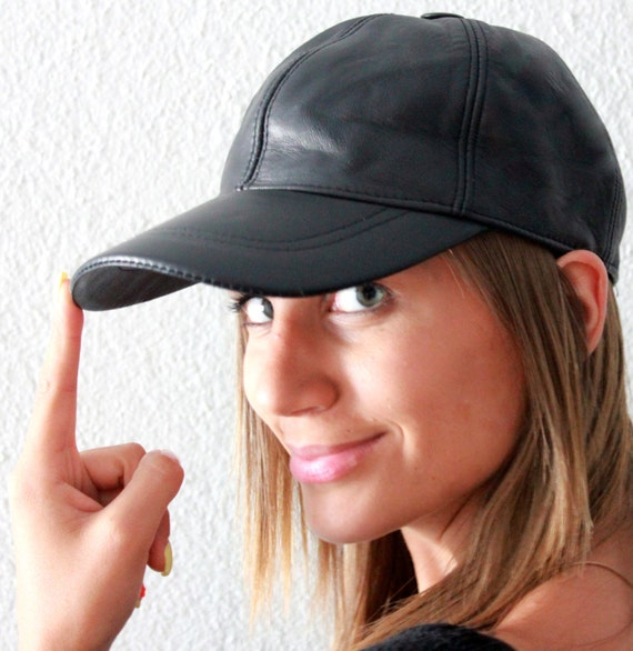 Baseball Cap Leather Baseball Cap Womens Cap Black Cap  ef426c1ebd64