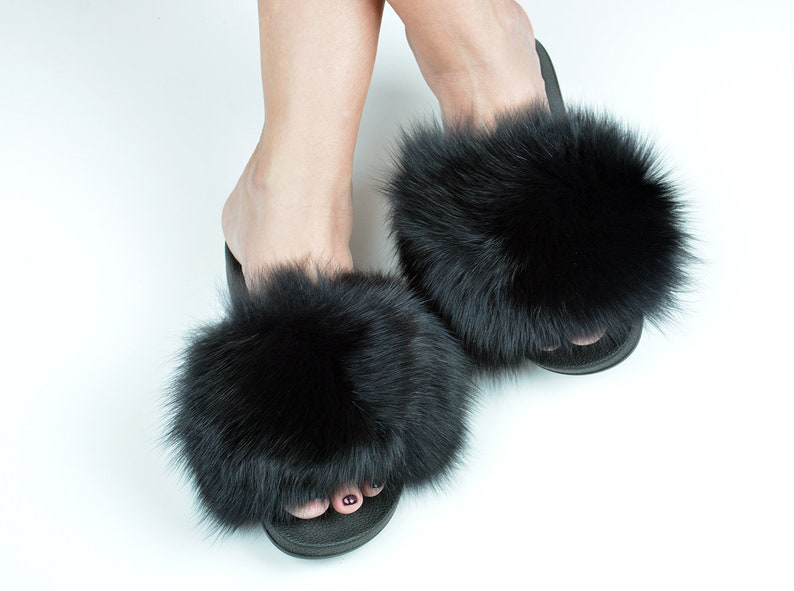 e893f25557da2 Black fur slides for women made with genuine fox fur and rubber sole.  Handmade fur flip flops for any activity, a great gift for her