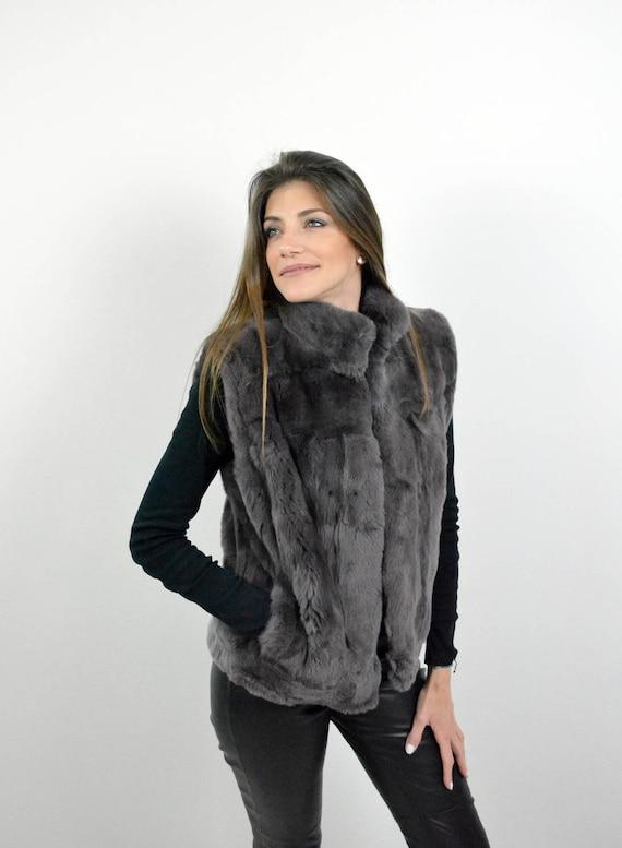 Veste sans manche femme en lapin
