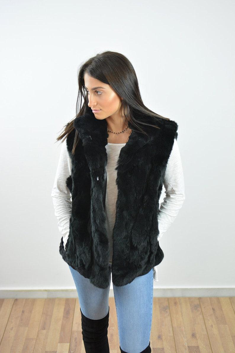 102480a56e5 Rex Rabbit Fur Vest Women Sleeveless Jacket Fur Vest Black